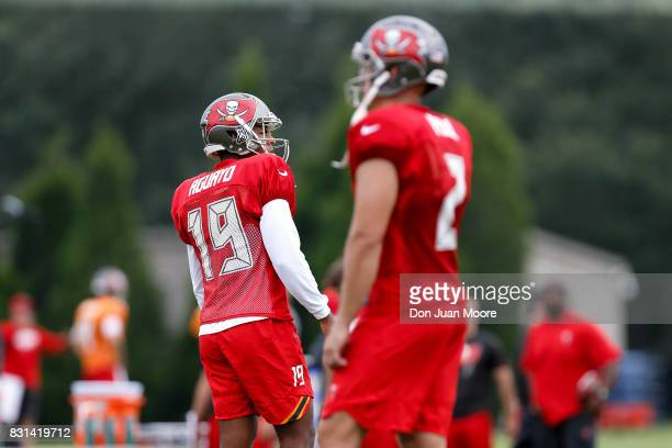 Kickers Roberto Aguayo and Nick Folk of the Tampa Bay Buccaneers works out during Training Camp at One Buc Place on July 30 2017 in Tampa Florida