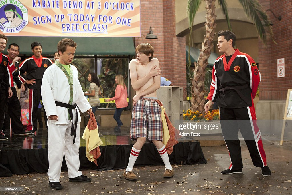 KICKIN' IT - 'Kickin' It On Our Own – Part 1 and 2' - When Rudy's uncle Blake (played by George Wendt) offers him a high profile job at his chain of amusement parks, Rudy quits the dojo and Bobby Wasabi sells it to Ty and the Black Dragons. After Ty downgrades the Wasabi Warriors to white belts, they all decide to leave the dojo and go their separate ways. When Rudy calls the gang together for dinner to make a big announcement, he discovers the truth and decides to win back his dojo via a tournament with Ty and the Black Dragons. Milton enlists the help of his Aunt Jillian (played by Jillian Michaels) to get them back in shape for the tournament, but, Ty brings in a ringer, WWE star Kofi Kingston, to go up against Rudy, in a new episode of 'Kickin' It,' MONDAY, NOVEMBER 19 (8:00-9:00 p.m., ET/PT) on Disney XD. KESLER