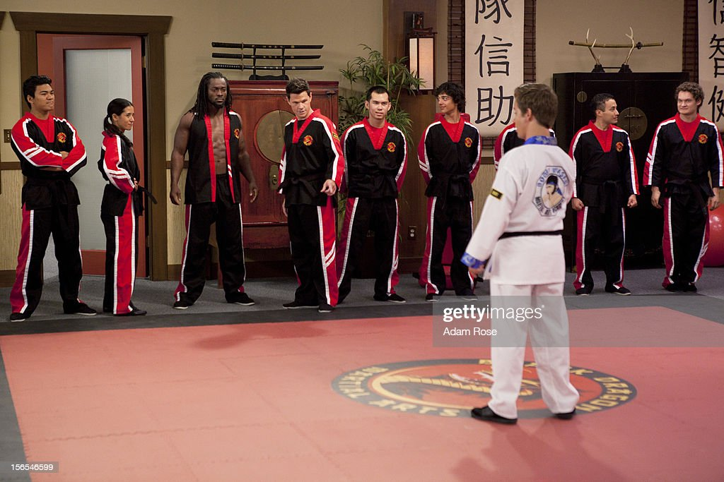 KICKIN' IT - 'Kickin' It On Our Own – Part 1 and 2' - When Rudy's uncle Blake (played by George Wendt) offers him a high profile job at his chain of amusement parks, Rudy quits the dojo and Bobby Wasabi sells it to Ty and the Black Dragons. After Ty downgrades the Wasabi Warriors to white belts, they all decide to leave the dojo and go their separate ways. When Rudy calls the gang together for dinner to make a big announcement, he discovers the truth and decides to win back his dojo via a tournament with Ty and the Black Dragons. Milton enlists the help of his Aunt Jillian (played by Jillian Michaels) to get them back in shape for the tournament, but, Ty brings in a ringer, WWE star Kofi Kingston, to go up against Rudy, in a new episode of 'Kickin' It,' MONDAY, NOVEMBER 19 (8:00-9:00 p.m., ET/PT) on Disney XD. DALGLISH