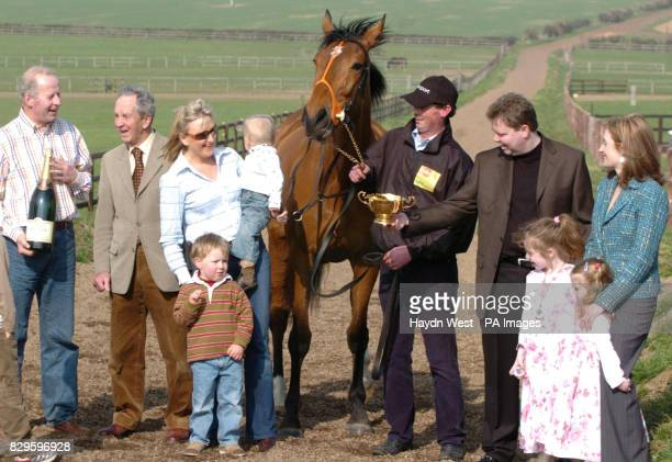Kicking King winner of the Cheltenham Gold Cup with trainer Tom Taaffe former champion jockey Toss Taaffe Tom's wife Elaine with son Pat and baby...