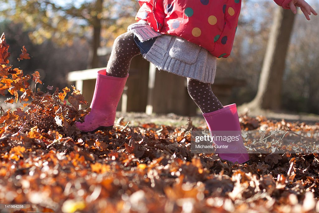 Kicking up leaves : Stock Photo