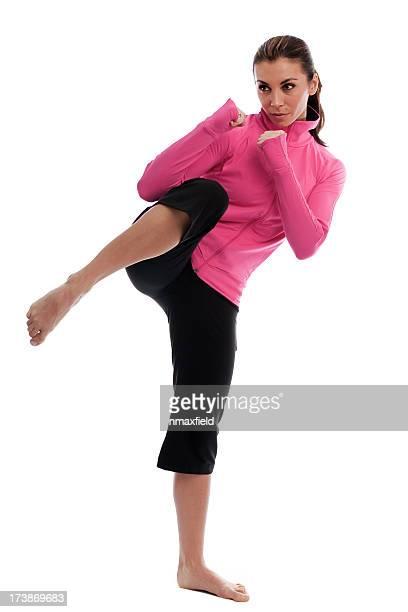 kicking woman