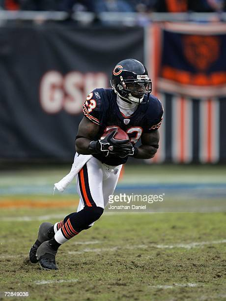 Kick/punt returner Devin Hester of the Chicago Bears returns a kick against the Tampa Bay Buccaneers December 17 2006 at Soldier Field in Chicago...