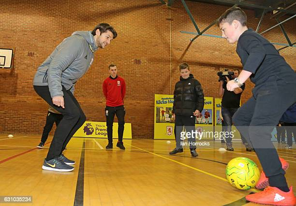 Kicks hero Jack Wilson takes a training session with Middlesbrough player George Friend during a Premier League Kicks Hero Event at Newport Community...