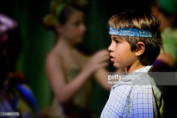 Kid acting in school play theatre