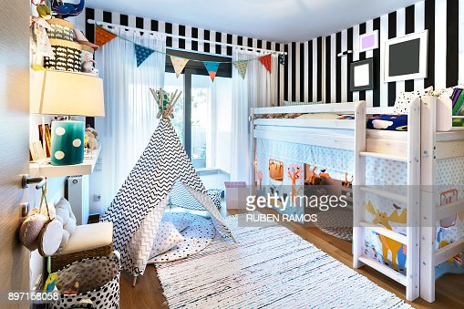 Kid bedroom with teepee and bunk bed. : Stock Photo