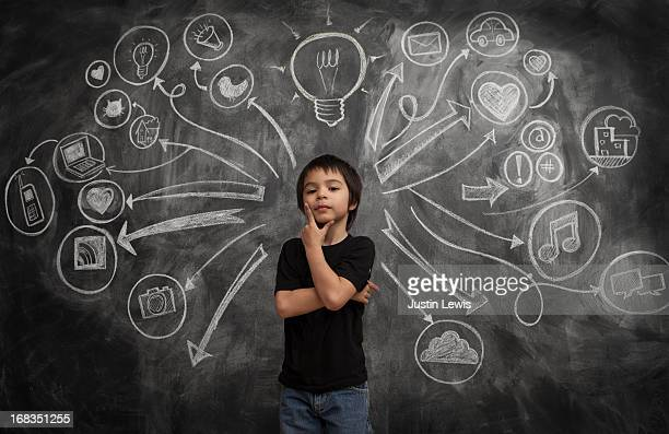 Kid boy stands with social media icon chalkboard