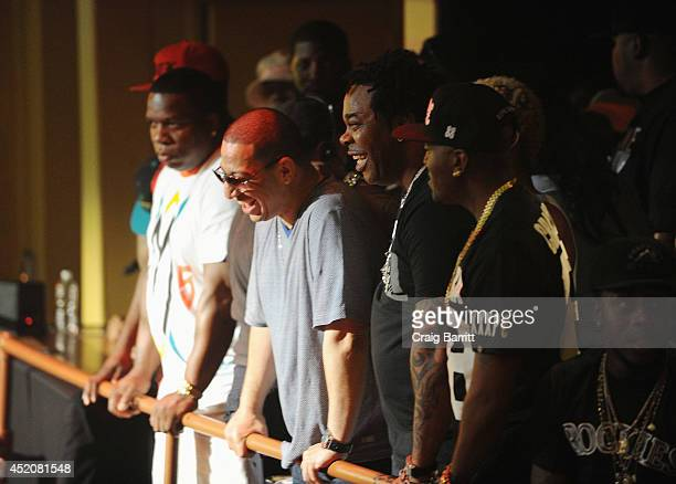 Kid Capri and Busta Rhymes attend the Total Slaughter hosted by Shady Films and WatchLOUDcom at Hammerstein Ballroom on July 12 2014 in New York City