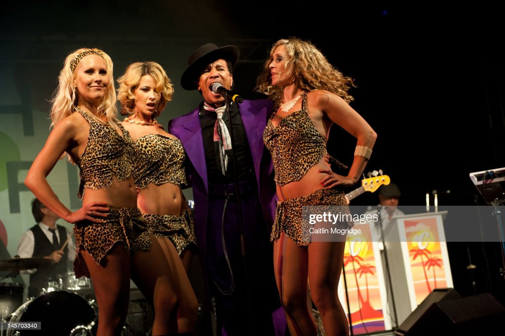 Kid Creole and The Coconuts perform on stage during Apple Cart Festival at Victoria Park on June 3, 2012 in London, United Kingdom.