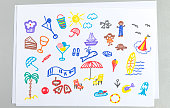 Kid drawings set of different summer beach vacation accessories and elements - child outline scribble of palm and sun with clouds, sea animals, people in swimwear and resort things.