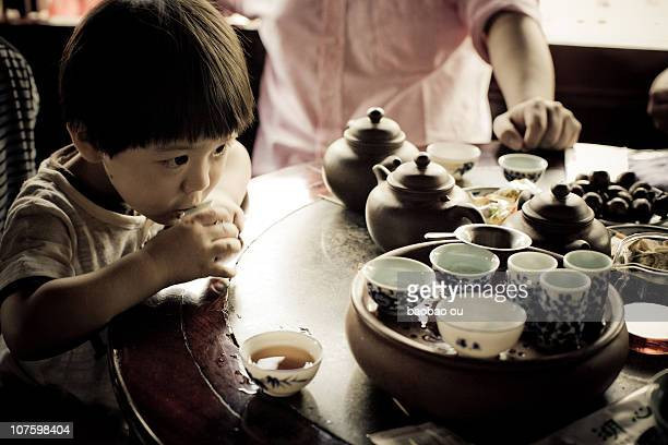 kid drinking KungFu tea