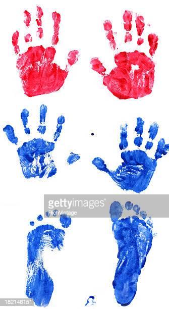 Impressões de mãos de criança