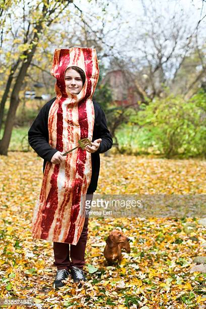 Kid in bacon costume