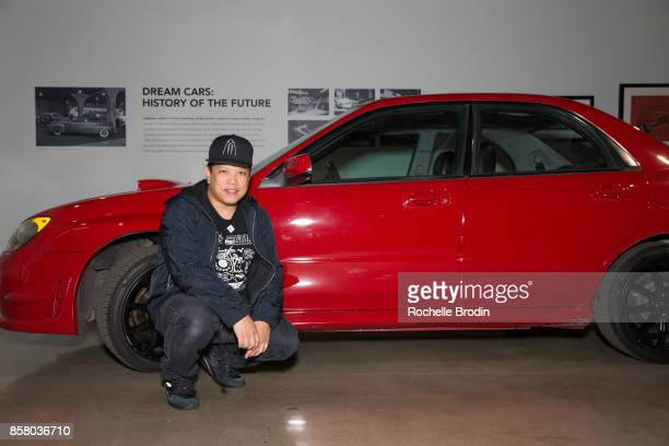 Kid Koala poses with a Subaru at the 'Cars Arts Beats A Night Out With 'Baby Driver'' event at the Petersen Automotive Museum on October 4 2017 in...