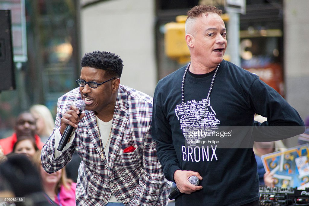Kid n Play perform onstage during I Love The 90's Concert Tour Performs On NBC's 'Today' at Rockefeller Plaza on April 29, 2016 in New York City.