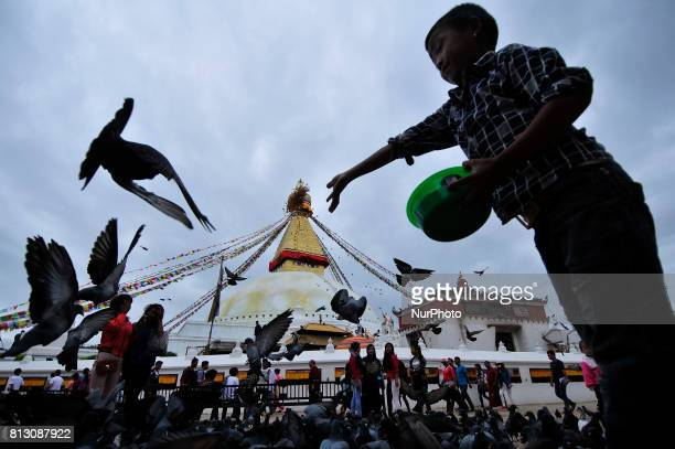 A kid offering holy maize grains towards pigeon at the premises of Boudhanath Stupa Kathmandu Nepal on Tuesday July 11 2017 Boudhanath Stupa is...