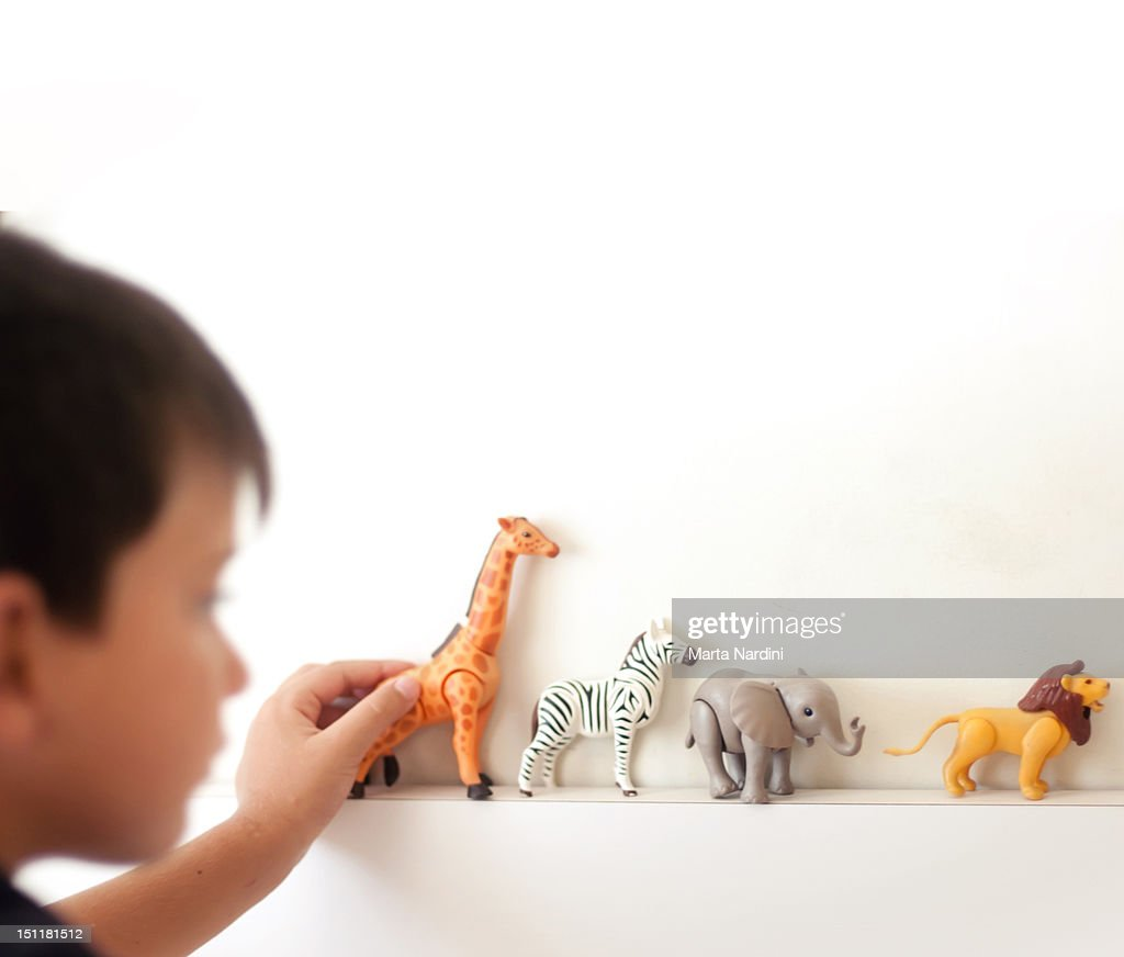 Kid playing with toy animals