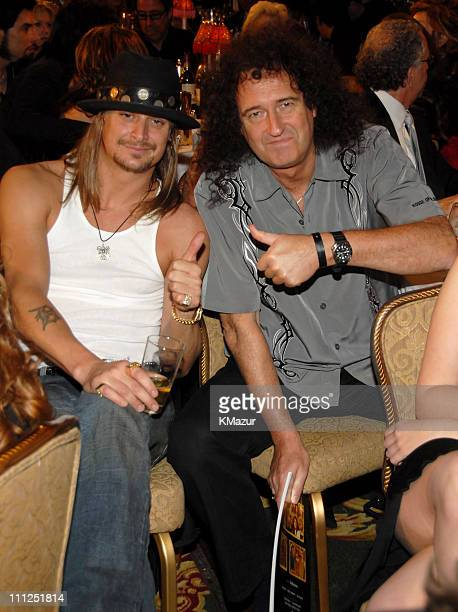 Kid Rock and Brian May of Queen during 21st Annual Rock and Roll Hall of Fame Induction Ceremony Cocktails and Dinner at Waldorf Astoria Hotel in New...