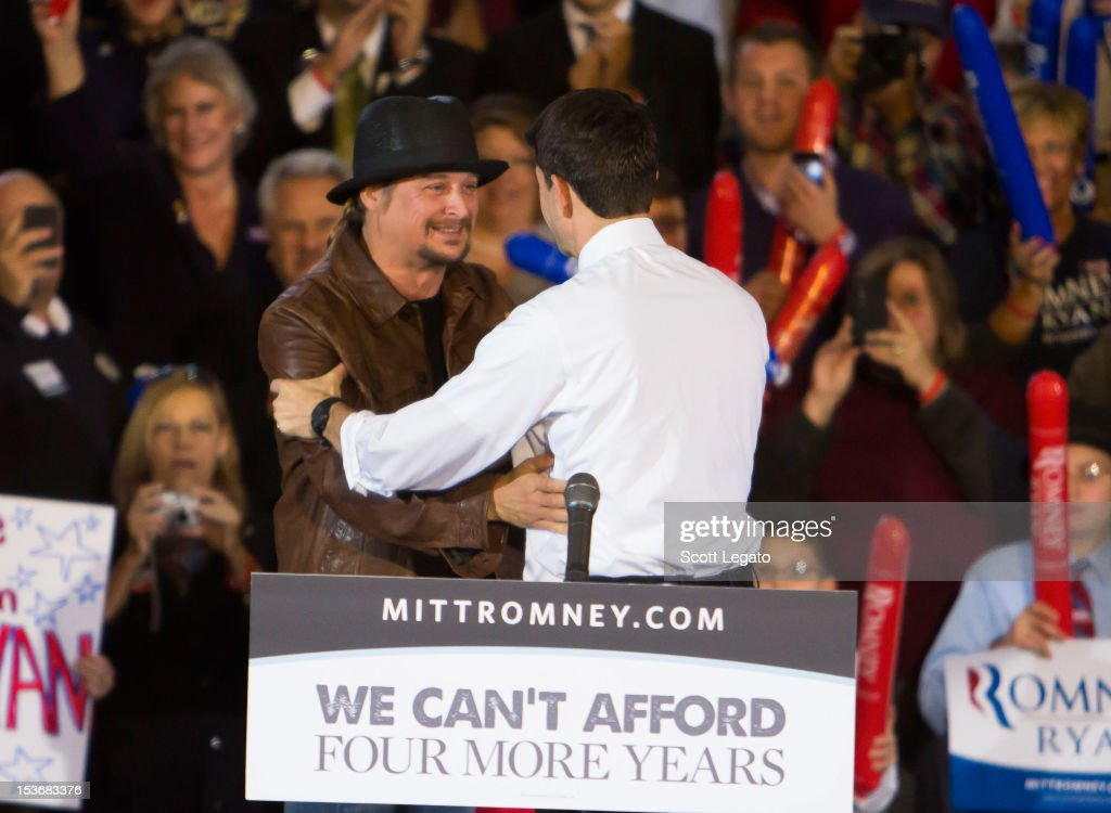 Kid Rock (L) and Congressman Paul Ryan attends the Congressman Paul Ryan Rally With Kid Rock at Oakland University Athletic Center on October 8, 2012 in Rochester, Michigan.