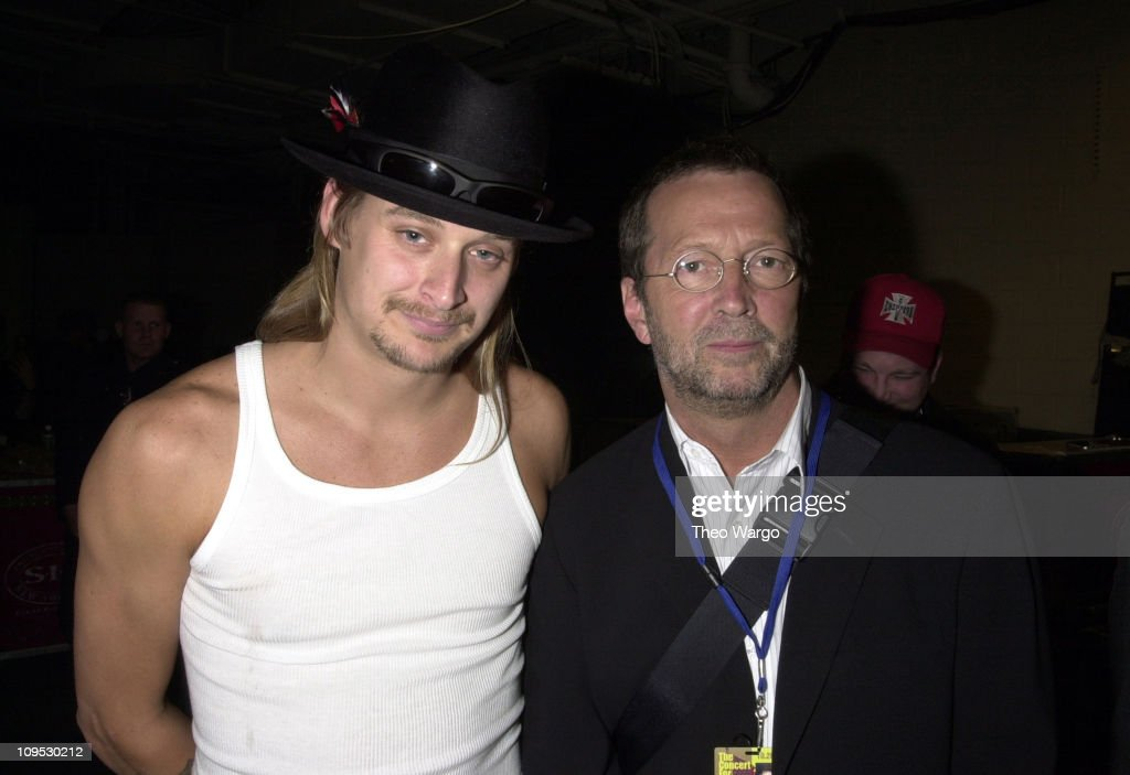 Kid Rock and Eric Clapton backstage during The Concert for New York City - Backstage at Madison Square Garden in New York City, New York, United States.