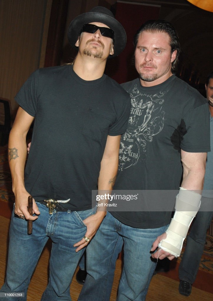 Kid Rock and Jason Giambi during HBO AEG Live's The Comedy Festival A Salute to the Troops and USO Backstage at Caesars Palace in Las Vegas Nevada...