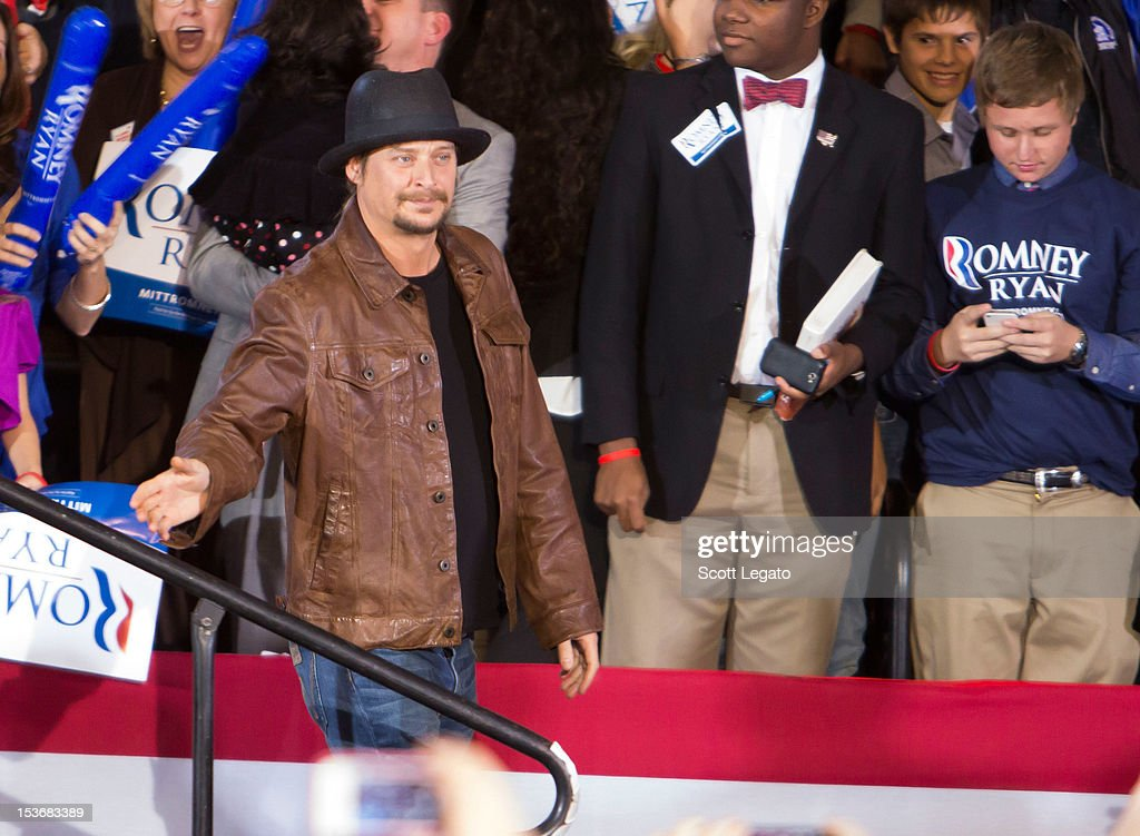 Kid Rock attends the Congressman Paul Ryan Rally With Kid Rock at Oakland University Athletic Center on October 8, 2012 in Rochester, Michigan.