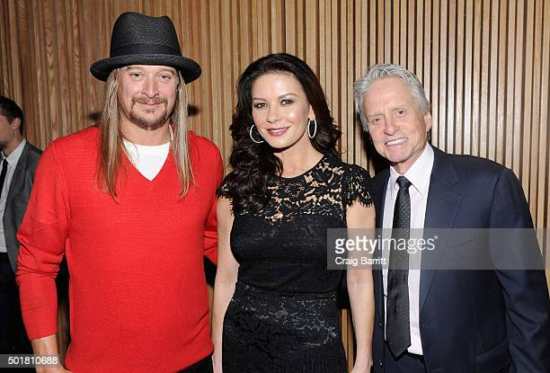 Kid Rock Catherine ZetaJones and Michael Douglas attend the opening of the Mica and Ahmet Ertegun Atrium at Jazz at Lincoln Center on December 17...