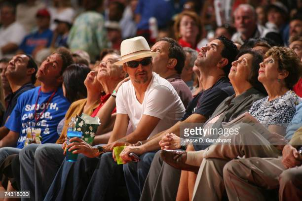 Kid Rock fan of the Detroit Pistons enjoys the game against the Cleveland Cavaliers in Game Two of the Eastern Conference Finals during the 2007 NBA...