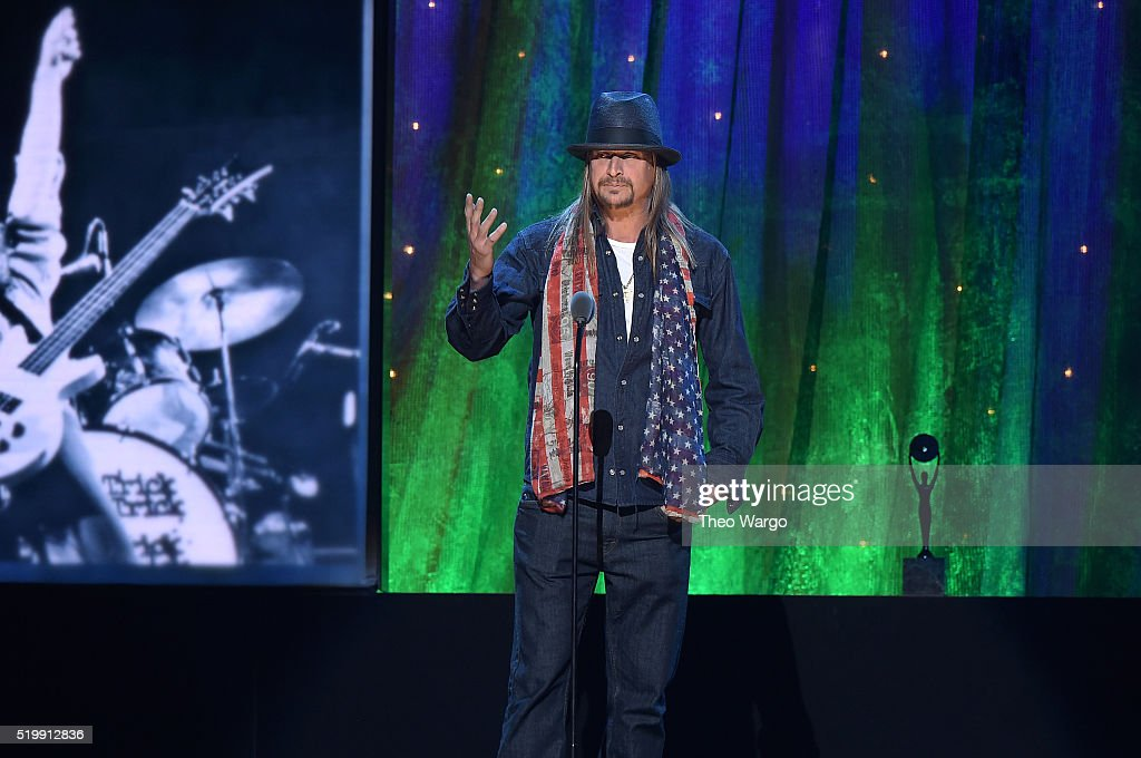 Kid Rock inducts Cheap Trick at the 31st Annual Rock And Roll Hall Of Fame Induction Ceremony at Barclays Center on April 8, 2016 in New York City.