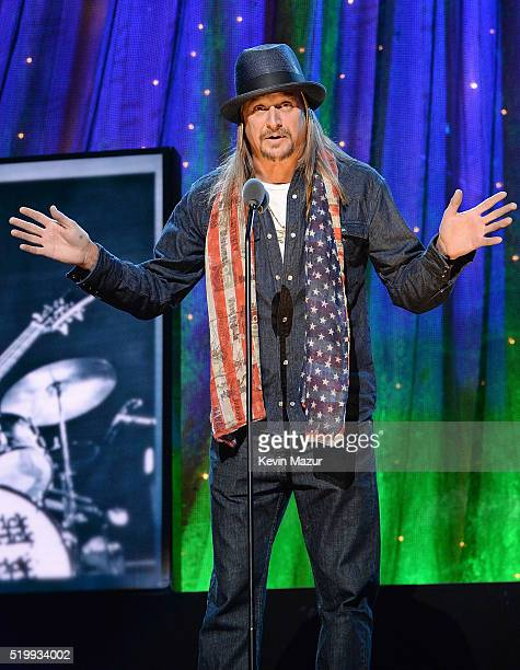 Kid Rock speaks onstage during 31st Annual Rock And Roll Hall Of Fame Induction Ceremony at Barclays Center of Brooklyn on April 8 2016 in New York...