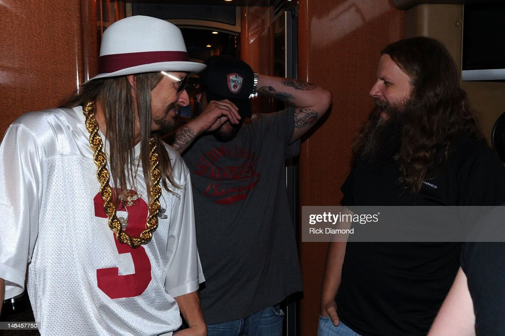Kid Rock Uncle Kracker and Jamey Johnson backstage at the 2012 BamaJam Music and Arts Festival Day 3 at BamaJam Farms in Enterprise Alabama on June...