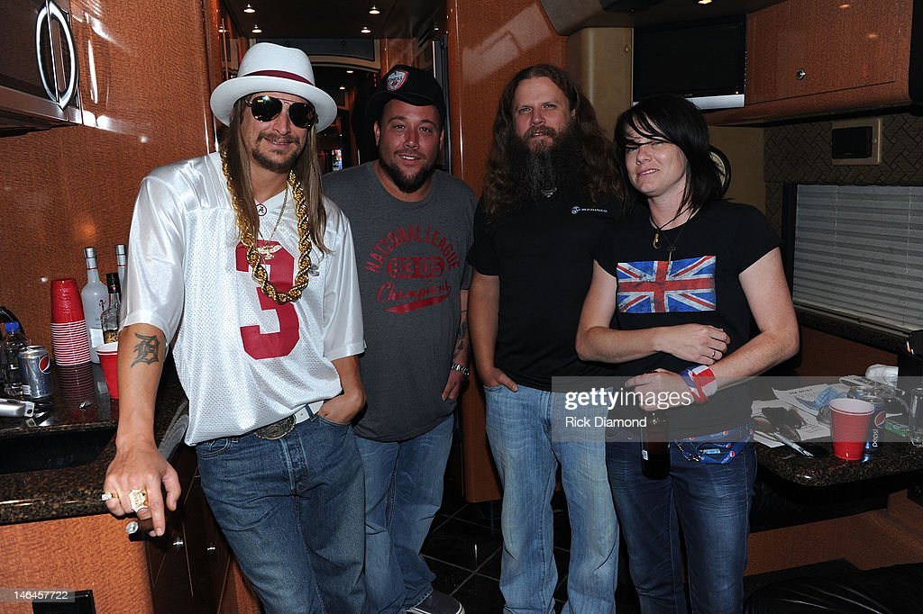 Kid Rock Uncle Kracker Jamey Johnson and Sonia Leigh backstage at the 2012 BamaJam Music and Arts Festival Day 3 at BamaJam Farms in Enterprise...