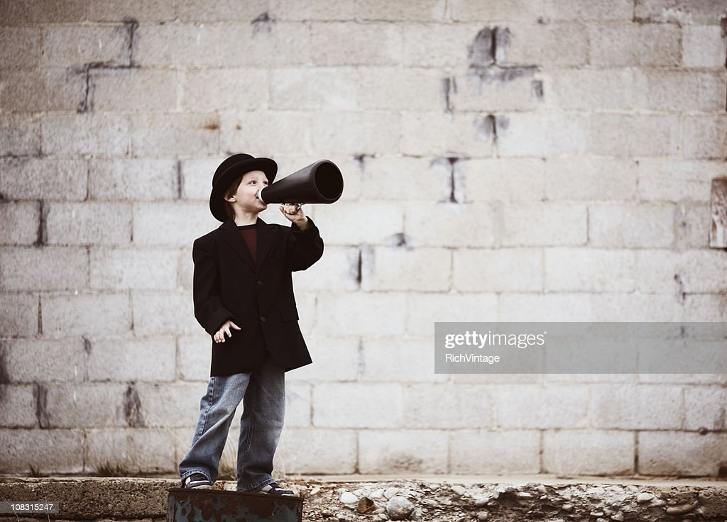 Kid Salesman : Stock Photo