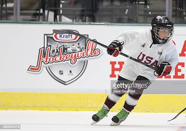 A kid skates at the Youth Hockey Clinic during Day 1 of NHL Kraft Hockeyville USA at the Cambria County War Memorial Arena on Septomber 27 2015 in...