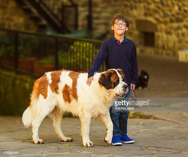 kid with st. bernard dog