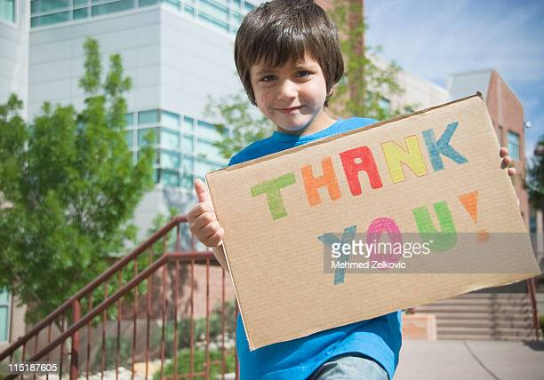 Kid with Thank You Sign