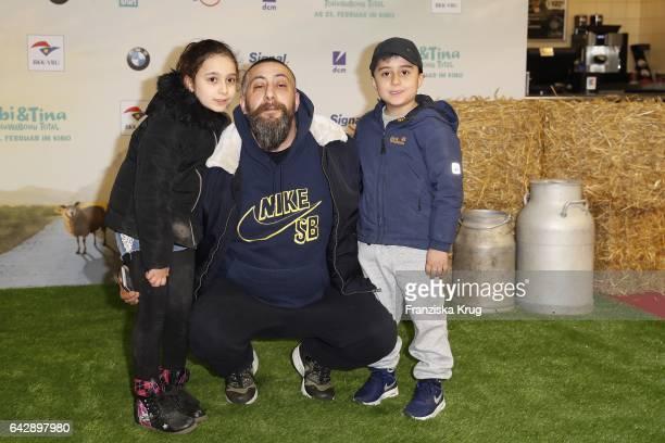 Kida Ramadan and his kids attend the German premiere of the film 'Bibi Tina Tohuwabohu Total' at Kino in der Kulturbrauerei on February 19 2017 in...