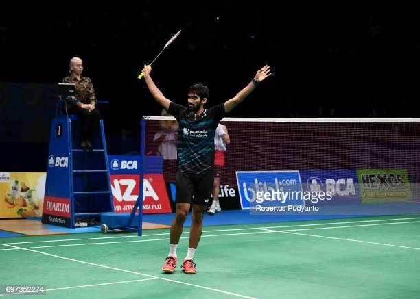 Kidambi Srikanth of India celebrates victory after beating Kazumasa Sakai of Japan during Men's Single Final match of the BCA Indonesia Open 2017 at...