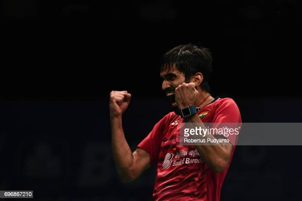Kidambi Srikanth of India celebrates victory after beating Son Wan Ho of Korea during Mens Single Semifinal match of the BCA Indonesia Open 2017 at...