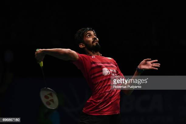 Kidambi Srikanth of India competes against Son Wan Ho of Korea during Mens Single Semifinal match of the BCA Indonesia Open 2017 at Plenary Hall...