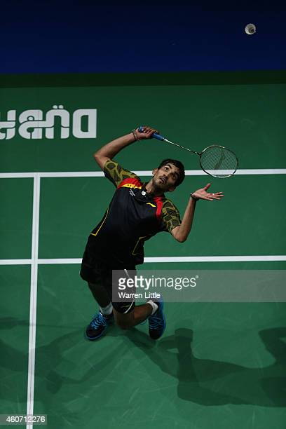 Kidambi Srikanth of India in action against Chen Long of China during the Men's Singles on day four of the BWF Destination Dubai World Superseries...