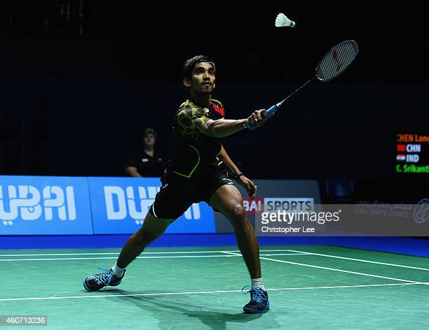 Kidambi Srikanth of India in action against Chen Long of China in the Mens Singles Semi Final during the BWF Destination Dubai World Superseries...