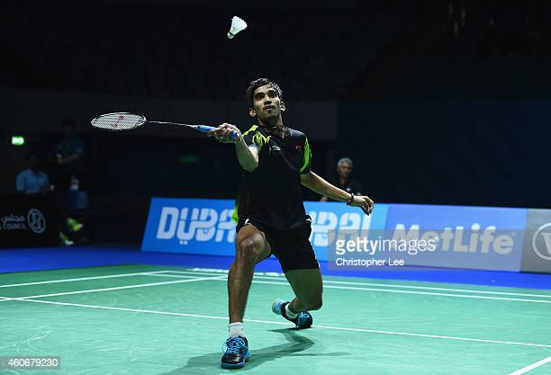 Kidambi Srikanth of India in action against Jan O Jorgensen of Denmark in the Mens Singles during the BWF Destination Dubai World Superseries Finals...