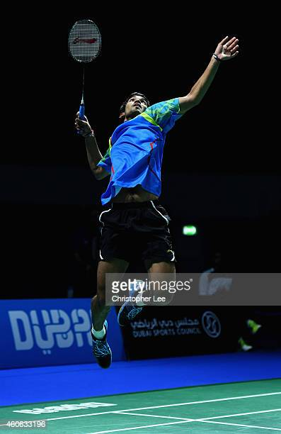 Kidambi Srikanth of India in action against Tommy Sugiarto of Indonesia in the Mens Singles during day two of the BWF Destination Dubai World...