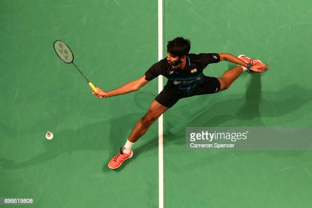 Kidambi Srikanth of India plays a shot during his R16 match against Son Wan Ho of Korea during the Australian Badminton Open at Sydney Olympic Park...