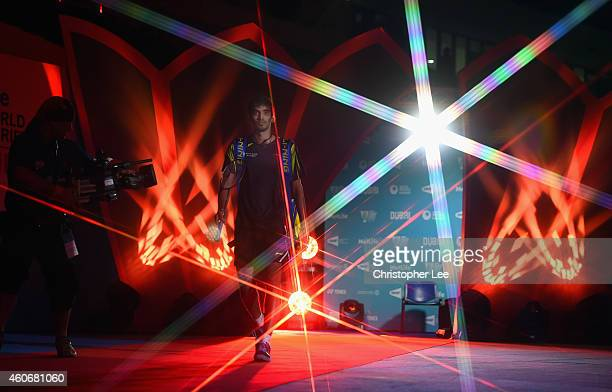 Kidambi Srikanth of India walks out onto the court before his game against Jan O Jorgensen of Denmark in the Mens Singles during the BWF Destination...