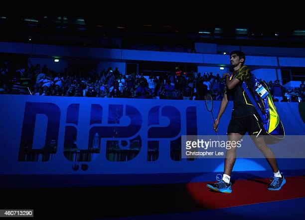 Kidambi Srikanth of India walks out onto the court to play against Chen Long of China in the Mens Singles Semi Final during the BWF Destination Dubai...