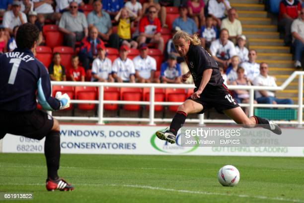Kidderminster Harriers' Bo Henriksen shoots for goal