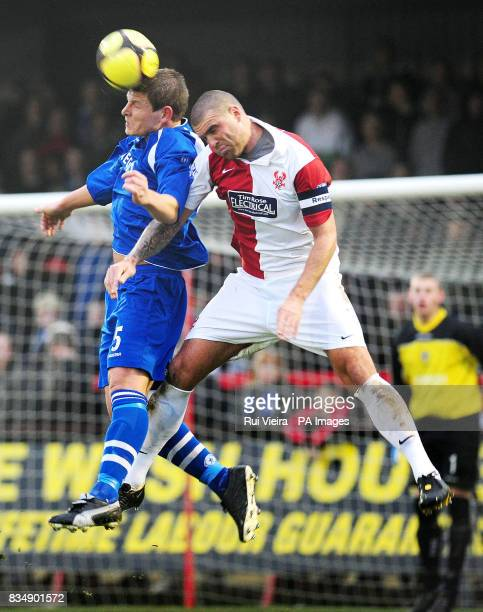 Kidderminster's captain Mark Creighton and Curzon Ashton's Adam Jonesduring the FA Cup Second Round match at Aggborough Kidderminster