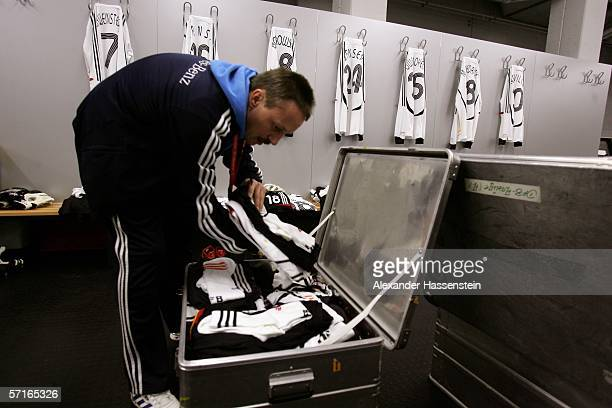 Kidman Thomas Mai prepairs the uniforms of the German National Team Players in the Locker room before the international friendly match between...